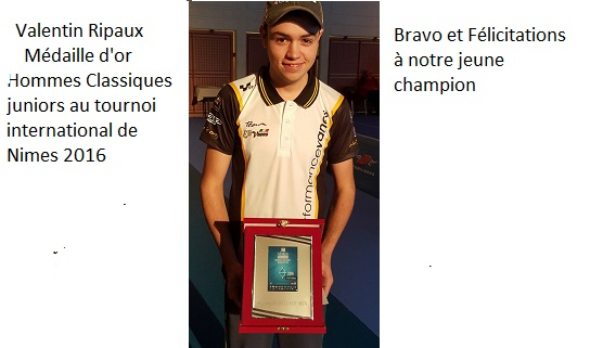 Valentin m�daille d'or junior au Tournoi de Nimes